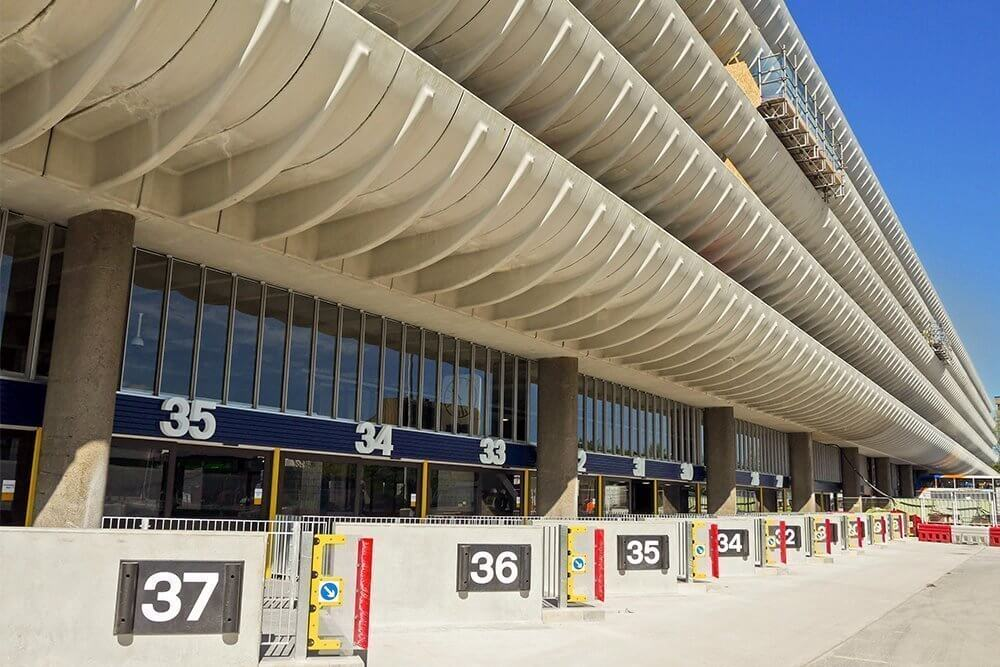 Preston bus station precast concrete barriers