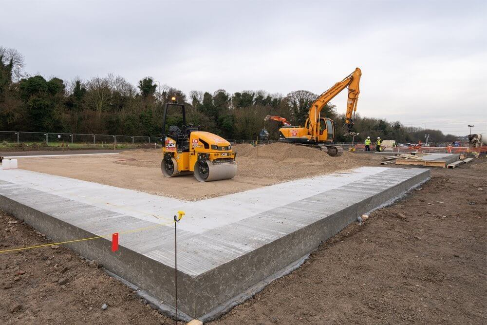 Salt storage building foundations